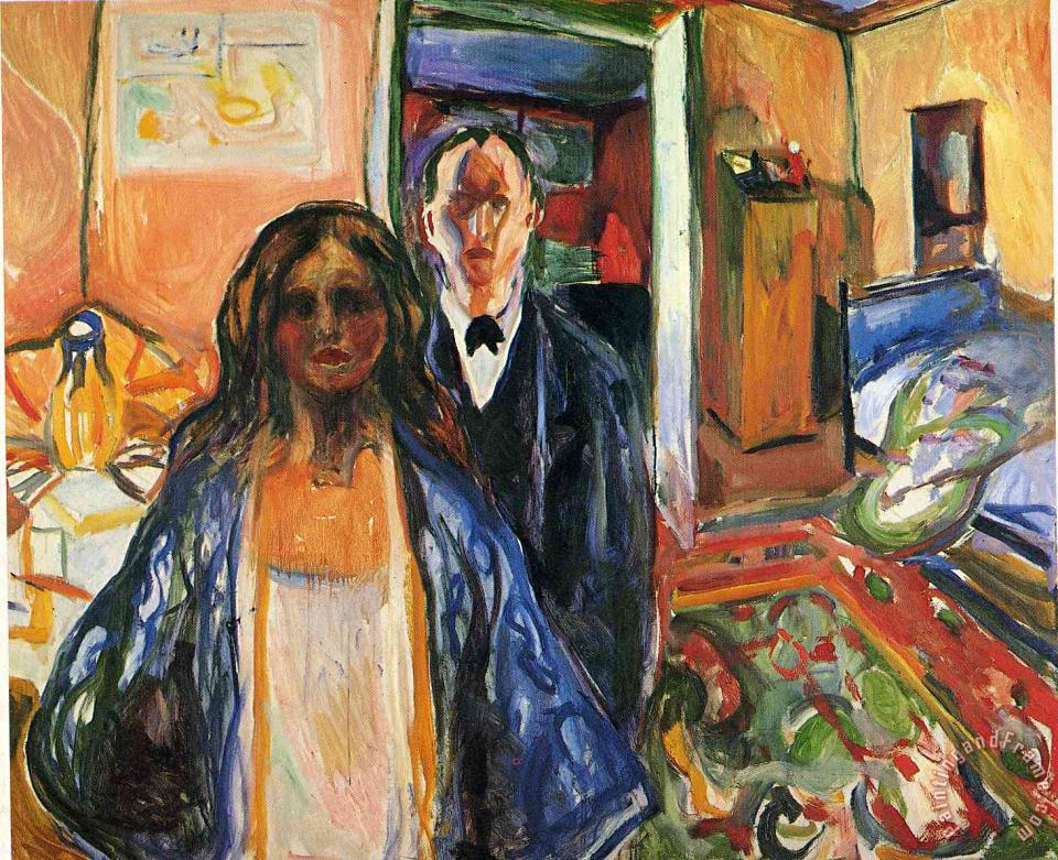 The Artist And His Model 1921 painting - Edvard Munch The Artist And His Model 1921 Art Print