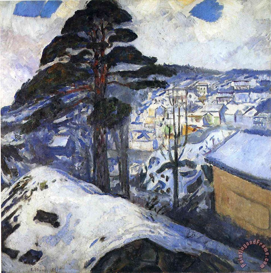 Winter Kragero 1912 painting - Edvard Munch Winter Kragero 1912 Art Print
