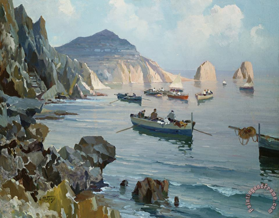 Edward Henry Potthast Boats In A Rocky Cove Art Print