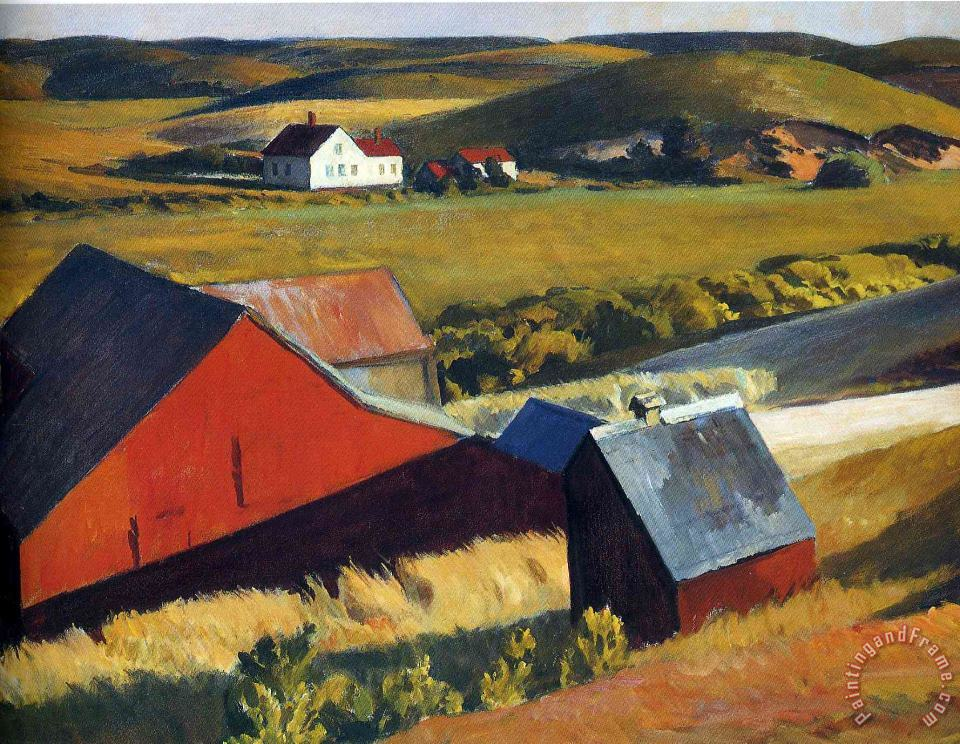 Cobbs Barns And Distant Houses painting - Edward Hopper Cobbs Barns And Distant Houses Art Print