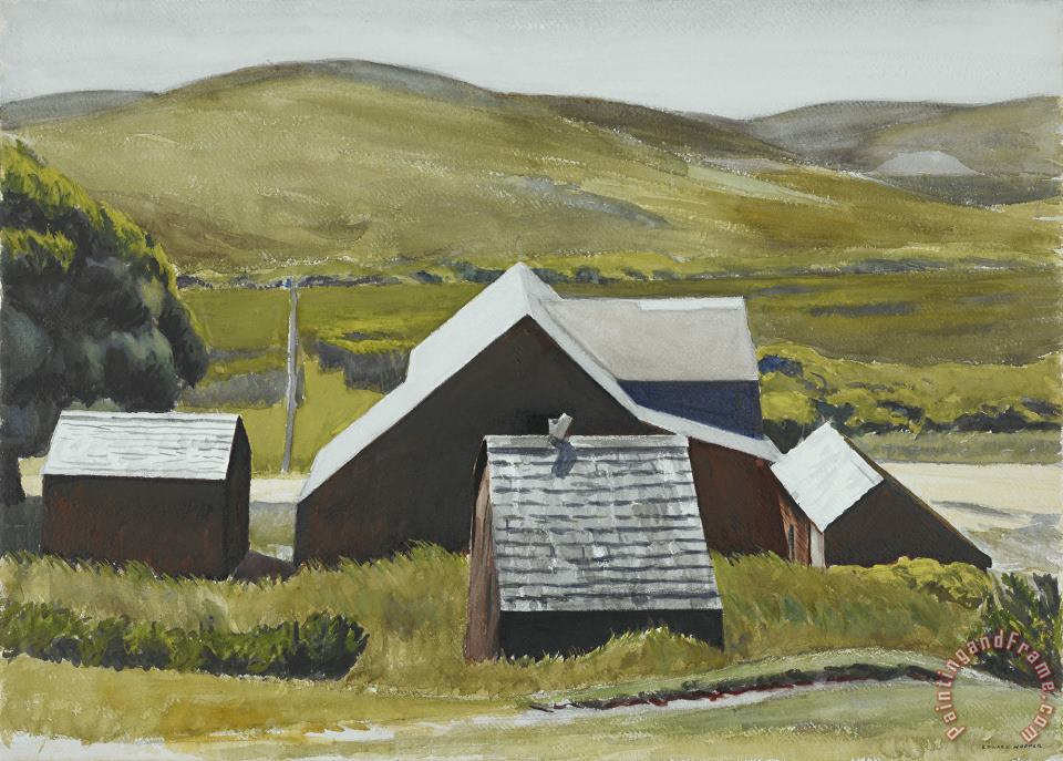 Roofs of The Cobb Barn painting - Edward Hopper Roofs of The Cobb Barn Art Print