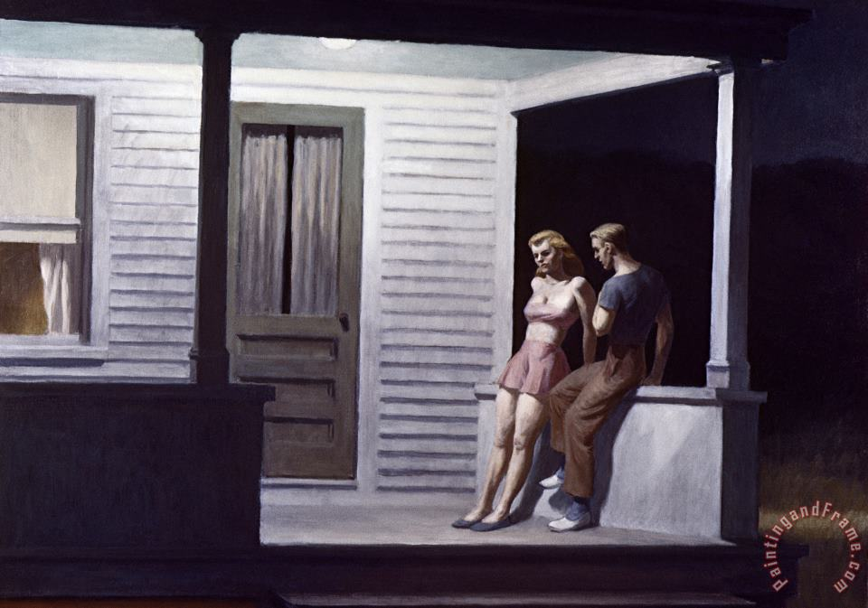 Summer Evening painting - Edward Hopper Summer Evening Art Print