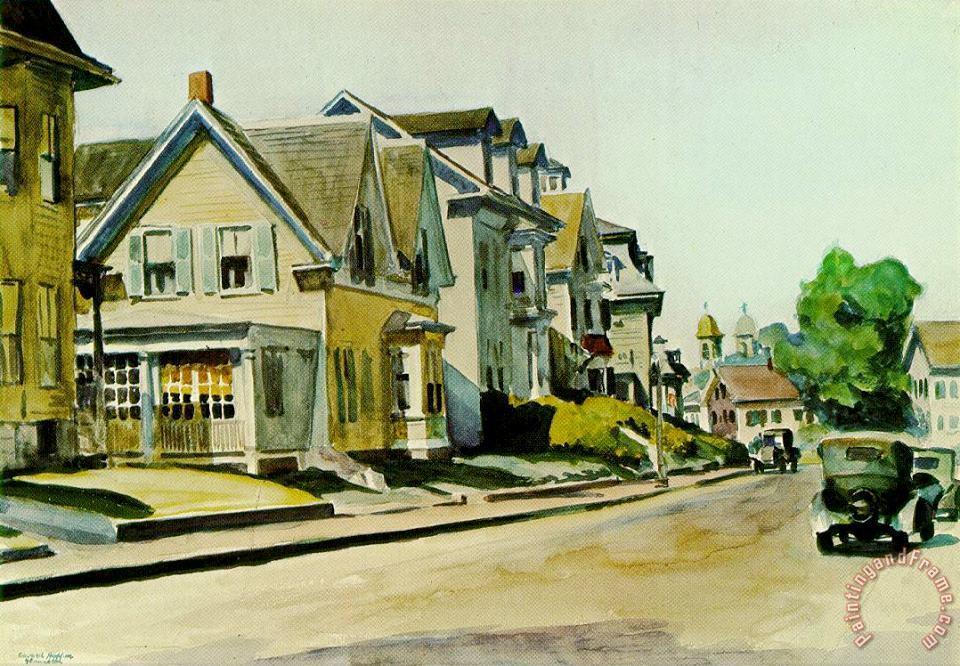 Sun on Prospect Street Gloucester Massachusetts 1934 painting - Edward Hopper Sun on Prospect Street Gloucester Massachusetts 1934 Art Print