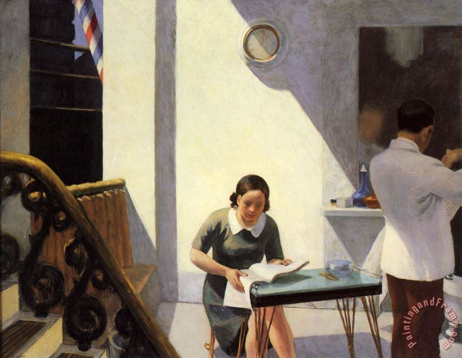 The Barber Shop painting - Edward Hopper The Barber Shop Art Print