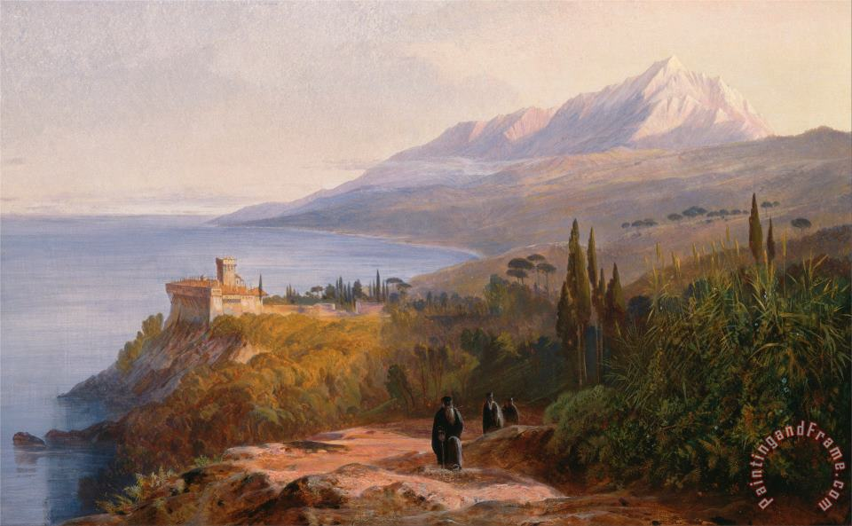 Mount Athos And The Monastery of Stavroniketes painting - Edward Lear Mount Athos And The Monastery of Stavroniketes Art Print