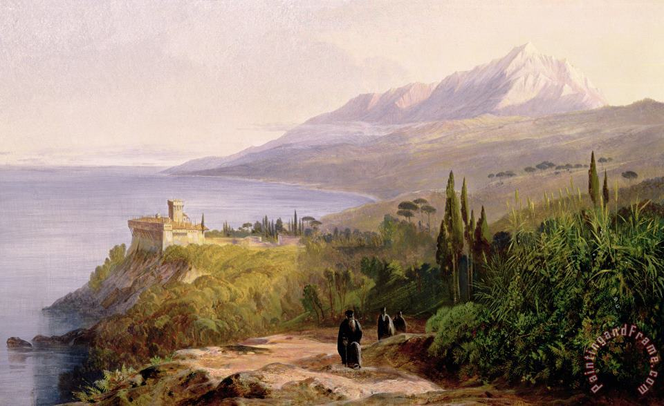 Edward Lear Mount Athos and the Monastery of Stavroniketes Art Painting