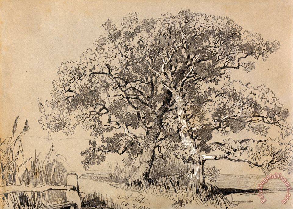 North Stoke. Oct. 21.1834. painting - Edward Lear North Stoke. Oct. 21.1834. Art Print