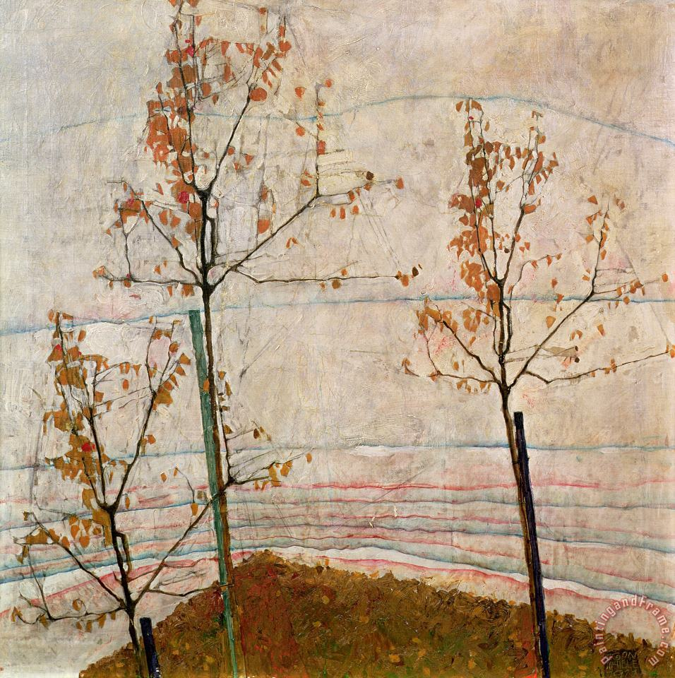 Autumn Trees painting - Egon Schiele Autumn Trees Art Print