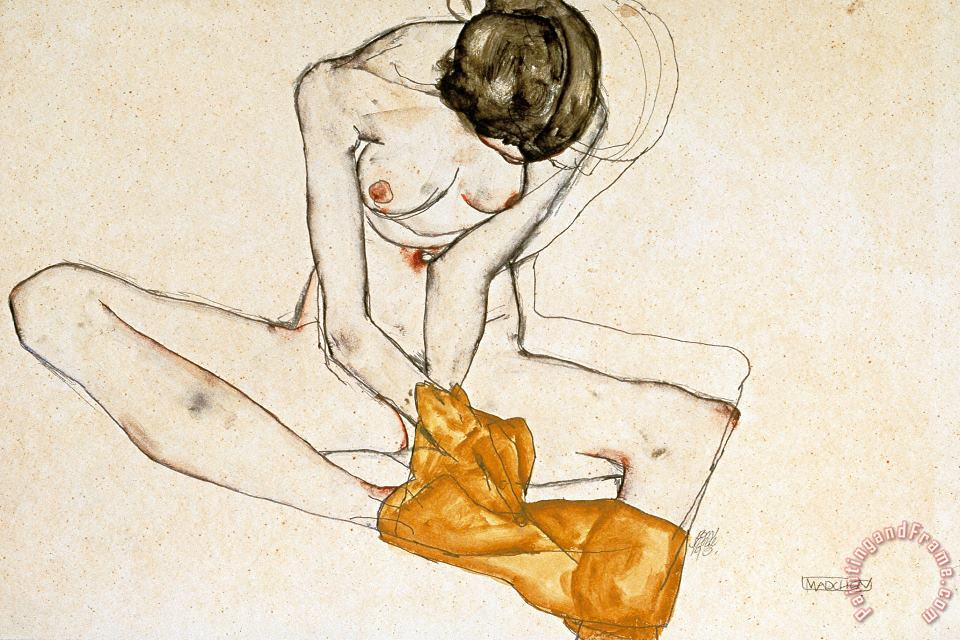 Female Nude painting - Egon Schiele Female Nude Art Print