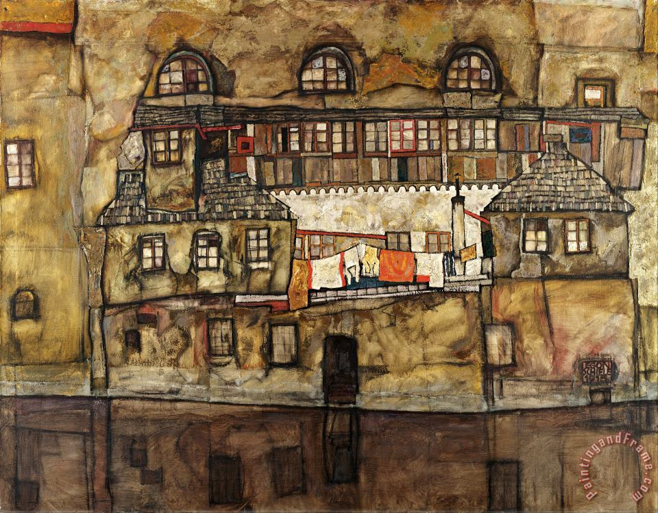 House Wall on the River By Egon Schiele Giclee Fine Art Reproduction on Canvas