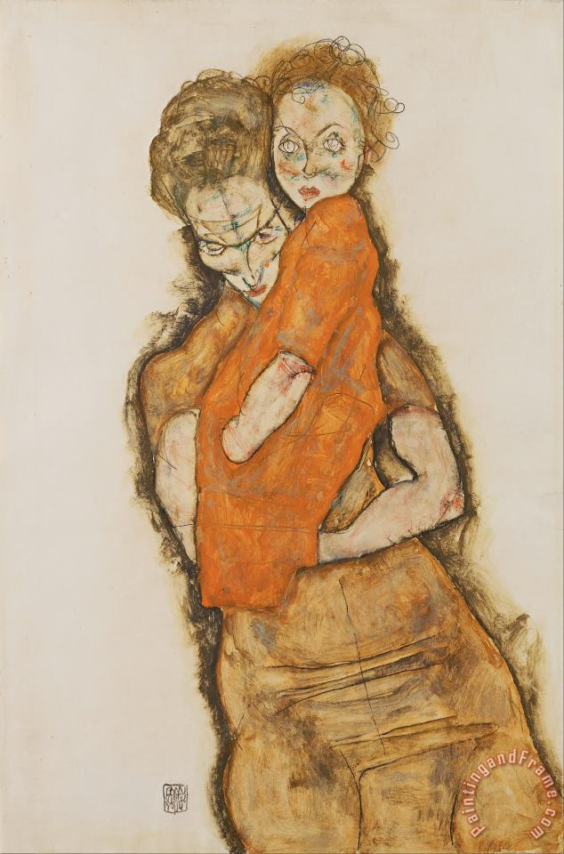 Mother And Child painting - Egon Schiele Mother And Child Art Print