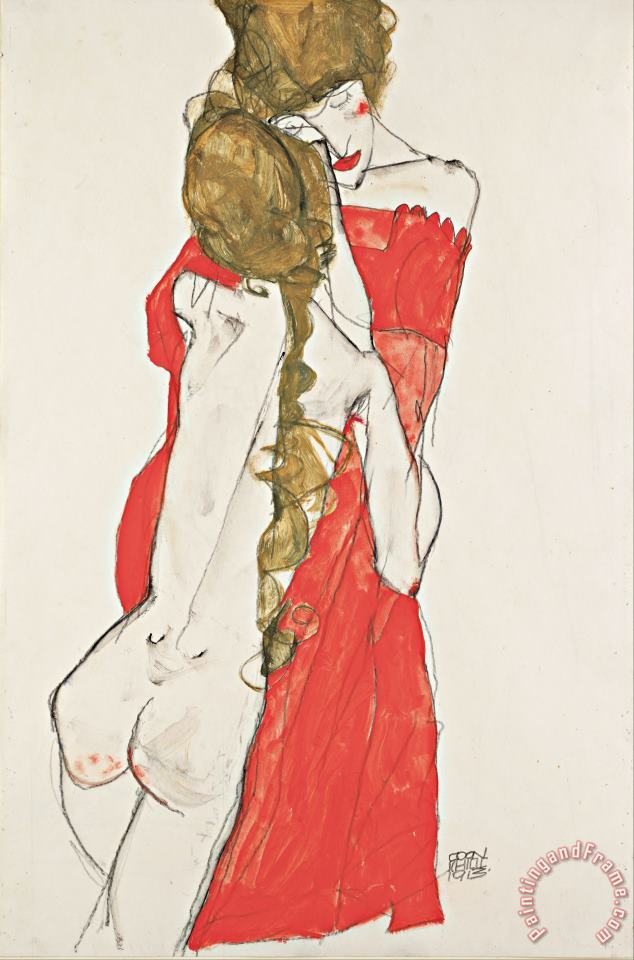 Mother And Daughter painting - Egon Schiele Mother And Daughter Art Print