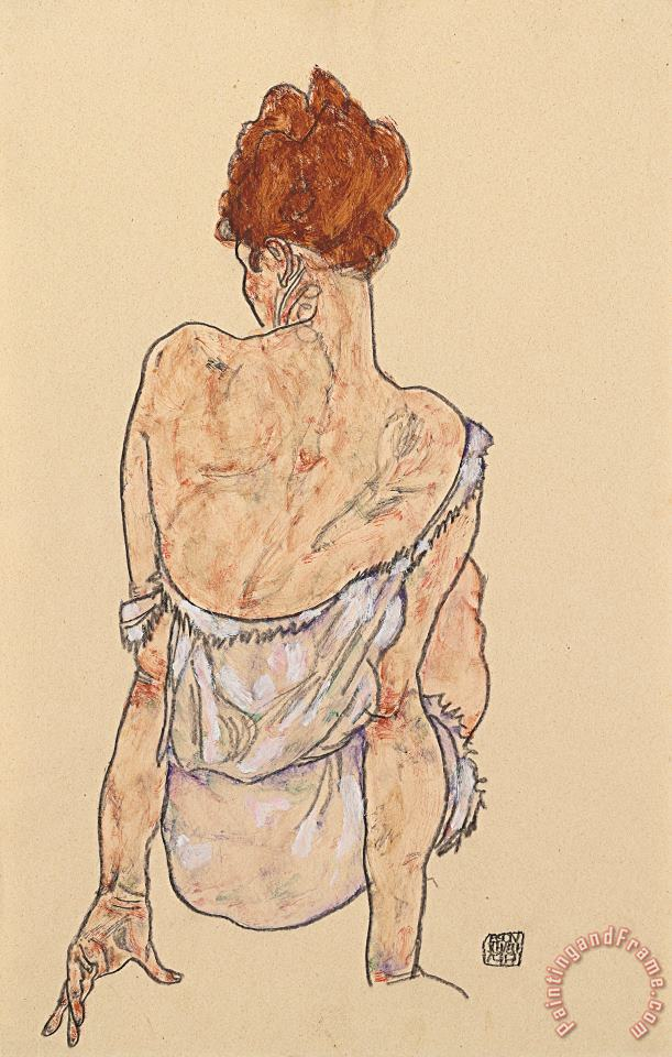Seated woman in underwear painting - Egon Schiele Seated woman in underwear Art Print