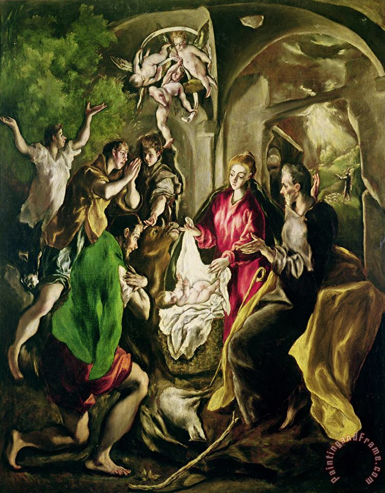 Adoration Of The Shepherds painting - El Greco Domenico Theotocopuli Adoration Of The Shepherds Art Print
