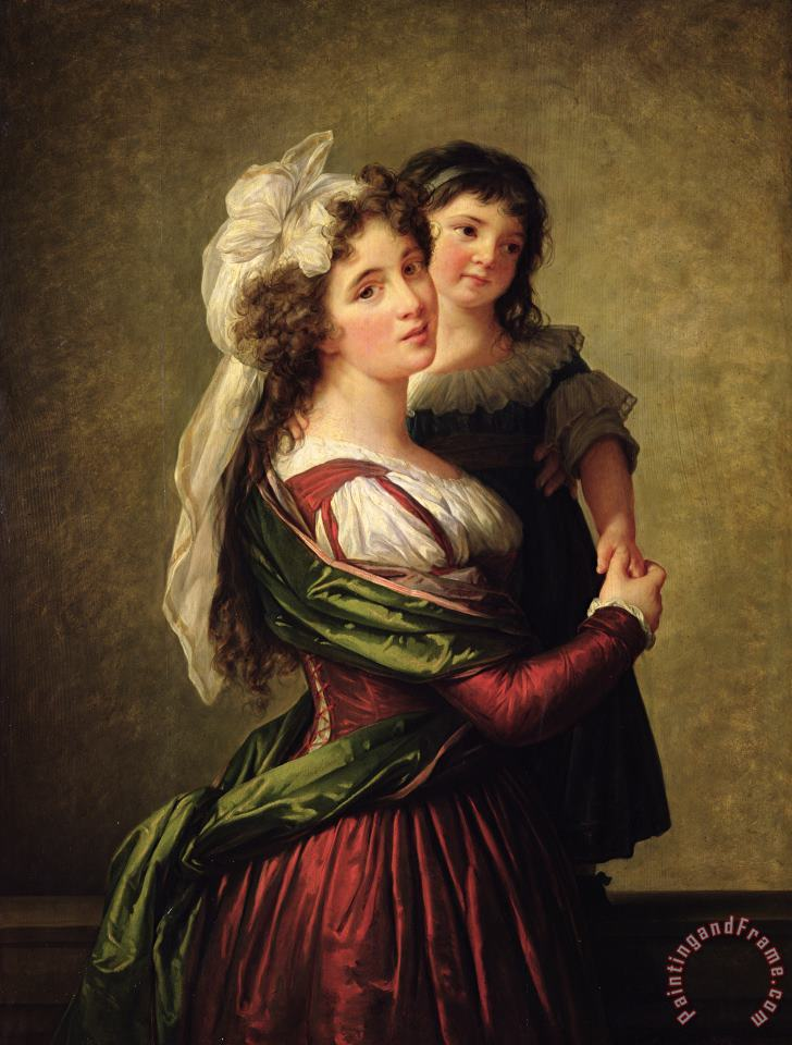 Madame Rousseau and her Daughter painting - Elisabeth Louise Vigee Lebrun Madame Rousseau and her Daughter Art Print
