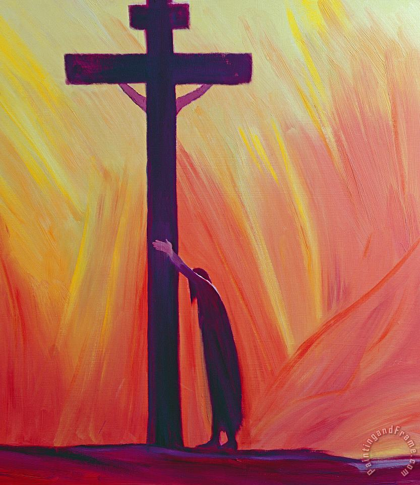 In our sufferings we can lean on the Cross by trusting in Christ's love painting - Elizabeth Wang In our sufferings we can lean on the Cross by trusting in Christ's love Art Print