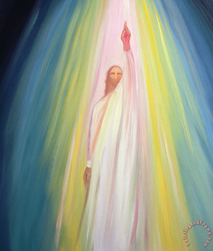 Elizabeth Wang Jesus Christ points us to God the Father Art Print