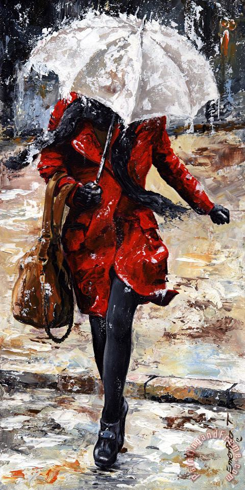 Rainy day - Woman of New York 10 painting - Emerico Toth Rainy day - Woman of New York 10 Art Print