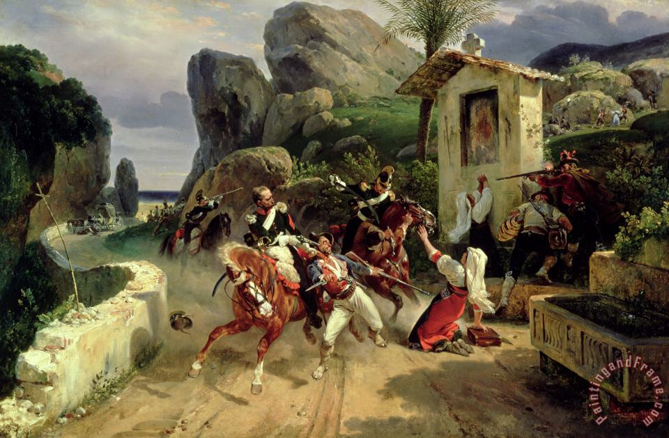 Italian Brigands Surprised By Papal Troops painting - Emile Jean Horace Vernet Italian Brigands Surprised By Papal Troops Art Print