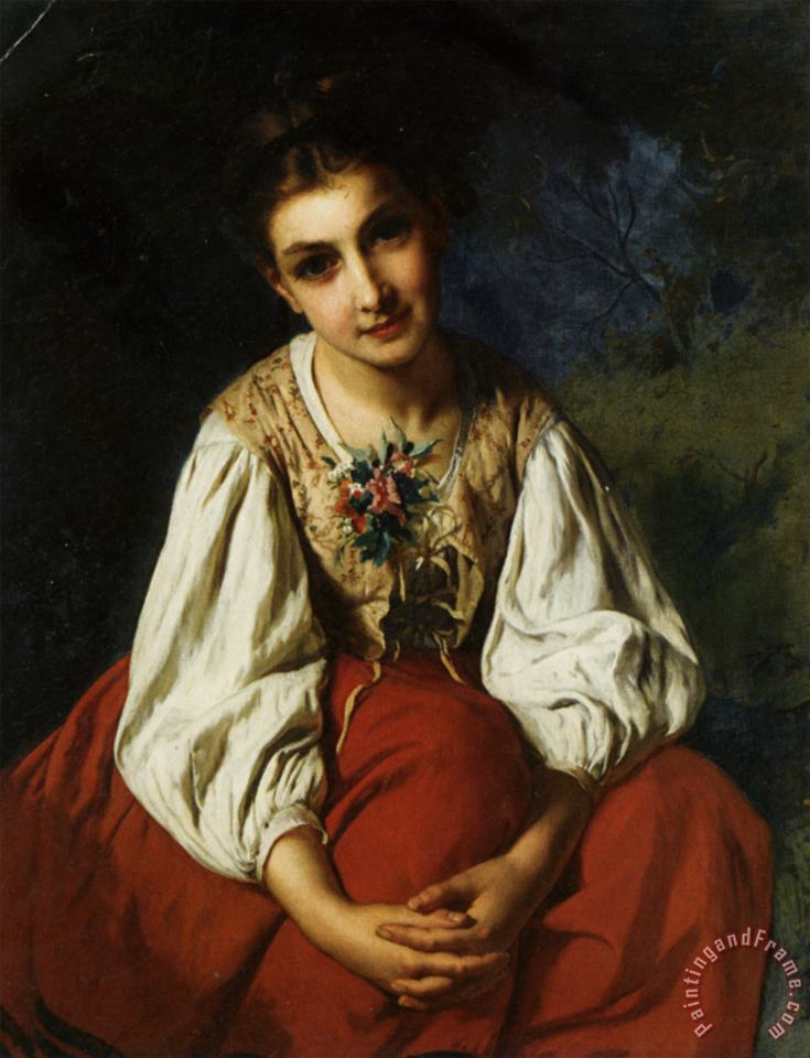 Portrait of a Young Girl painting - Emile Munier Portrait of a Young Girl Art Print