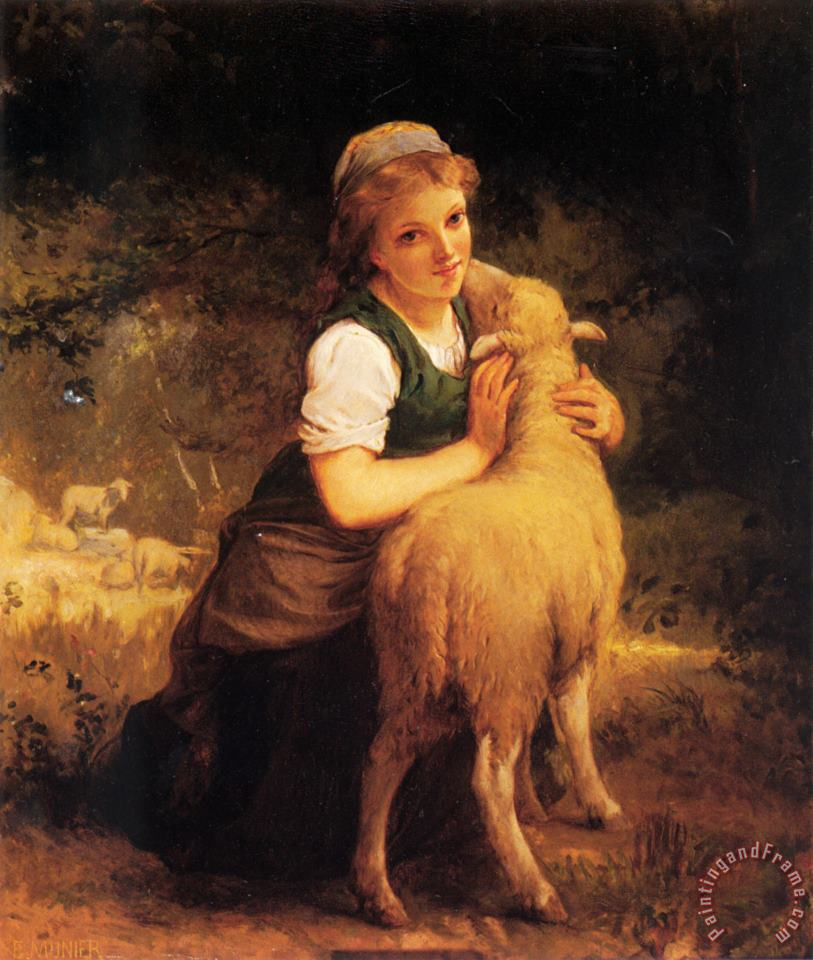 Emile Munier Young Girl with Lamb Art Print