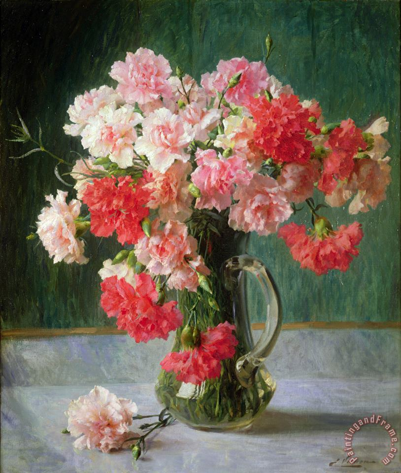 Emile Vernon  Still life of Carnations Art Painting