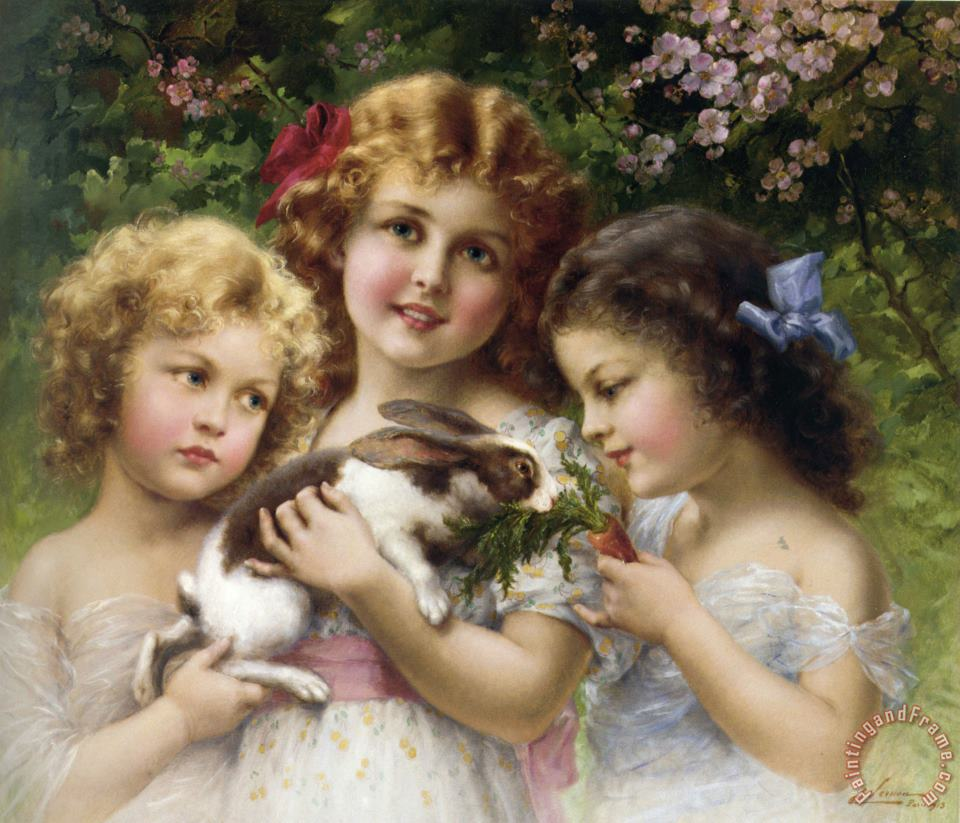 The Pet Rabbit painting - Emile Vernon The Pet Rabbit Art Print