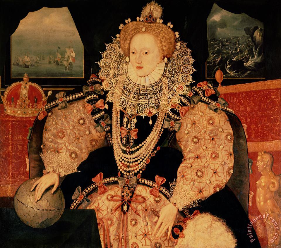 Elizabeth I Armada portrait painting - English School Elizabeth I Armada portrait Art Print
