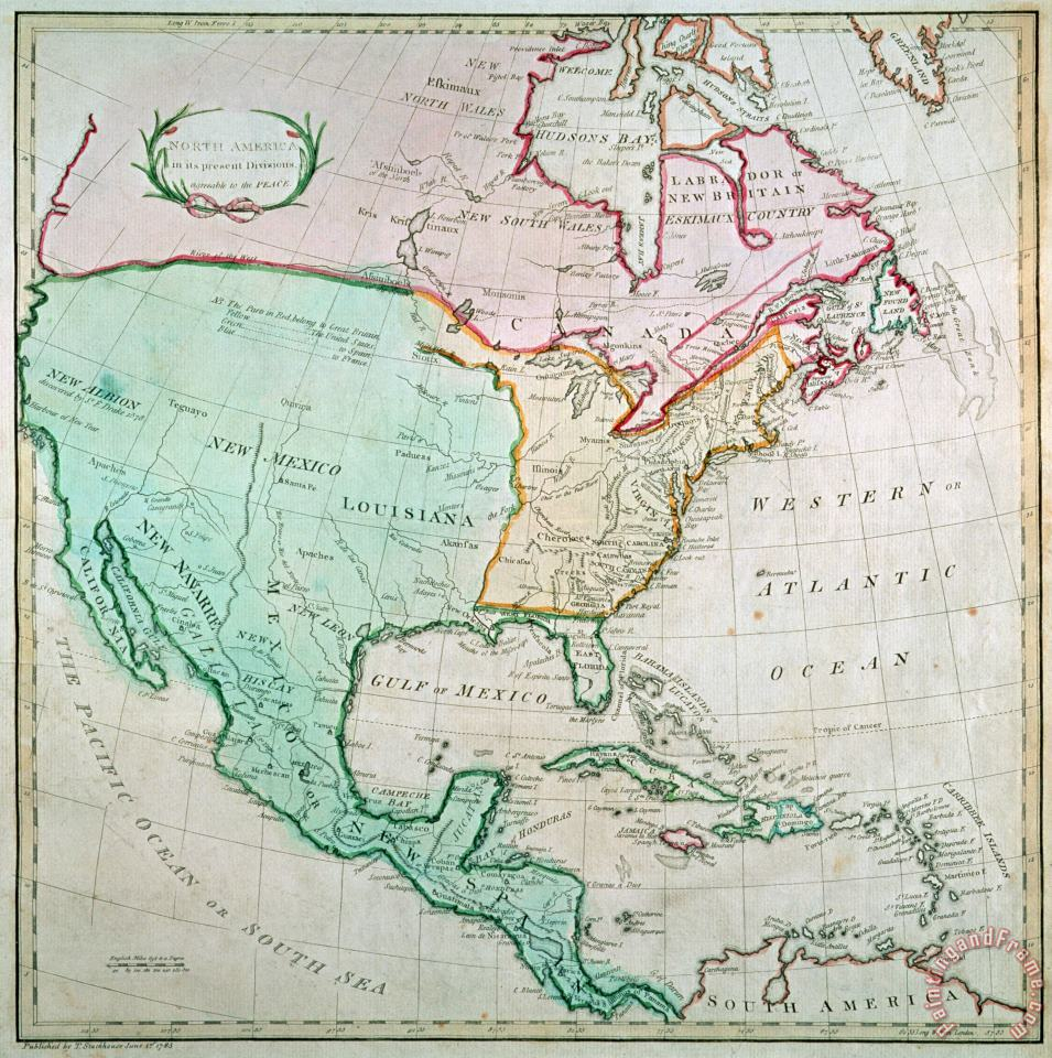 Map of North America painting - English School Map of North America Art Print