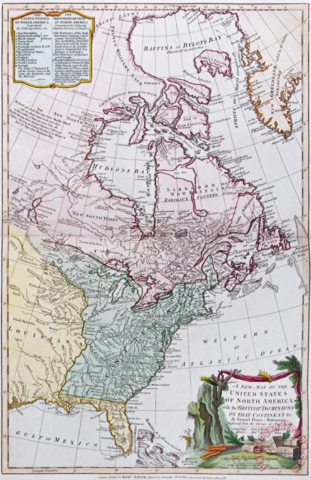 Map Of The Usa And The British Dominions In North America painting - English School Map Of The Usa And The British Dominions In North America Art Print
