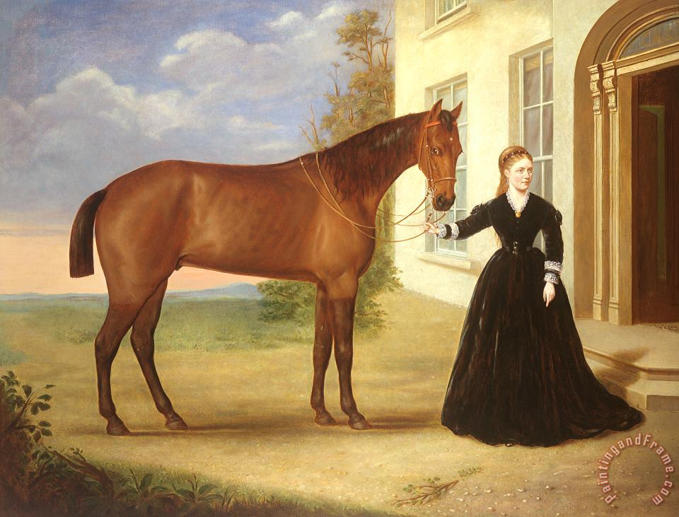 Portrait of a lady with her horse painting - English School  Portrait of a lady with her horse Art Print