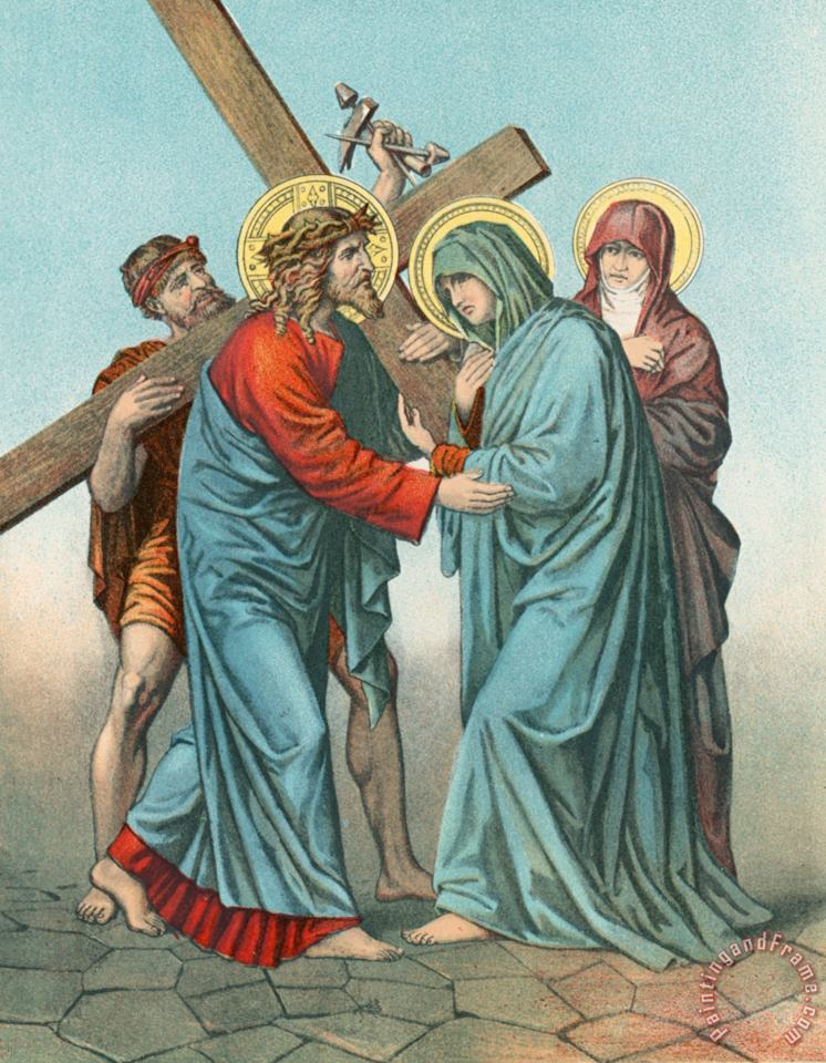 English School Station IV Jesus Carrying the Cross Meets his most Afflicted Mother Art Print
