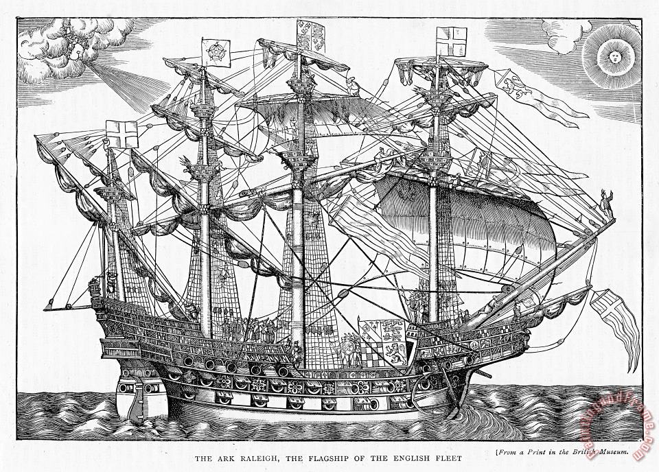 English School The Ark Raleigh The Flagship Of The English Fleet From Leisure Hour Art Painting