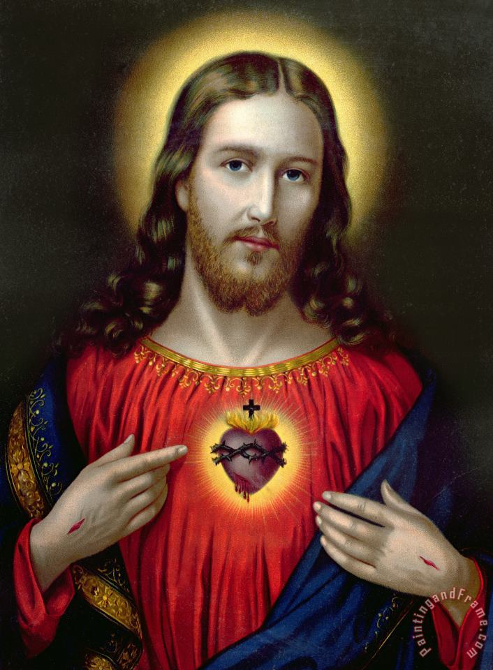 English School The Sacred Heart of Jesus Art Painting
