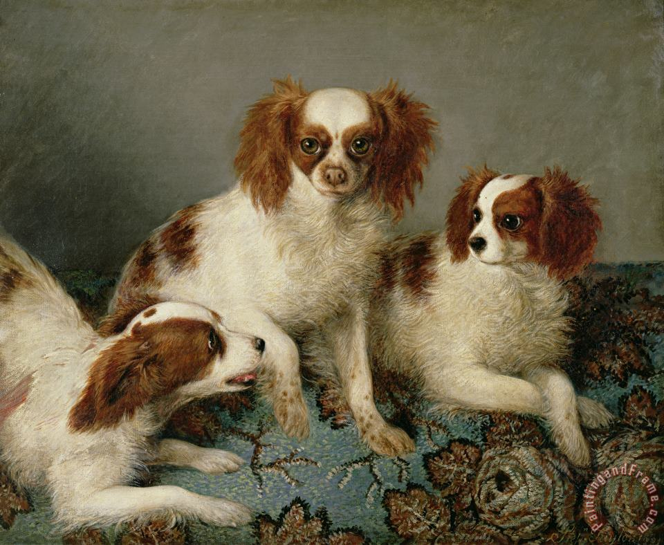 Three Cavalier King Charles Spaniels on a Rug painting - English School Three Cavalier King Charles Spaniels on a Rug Art Print