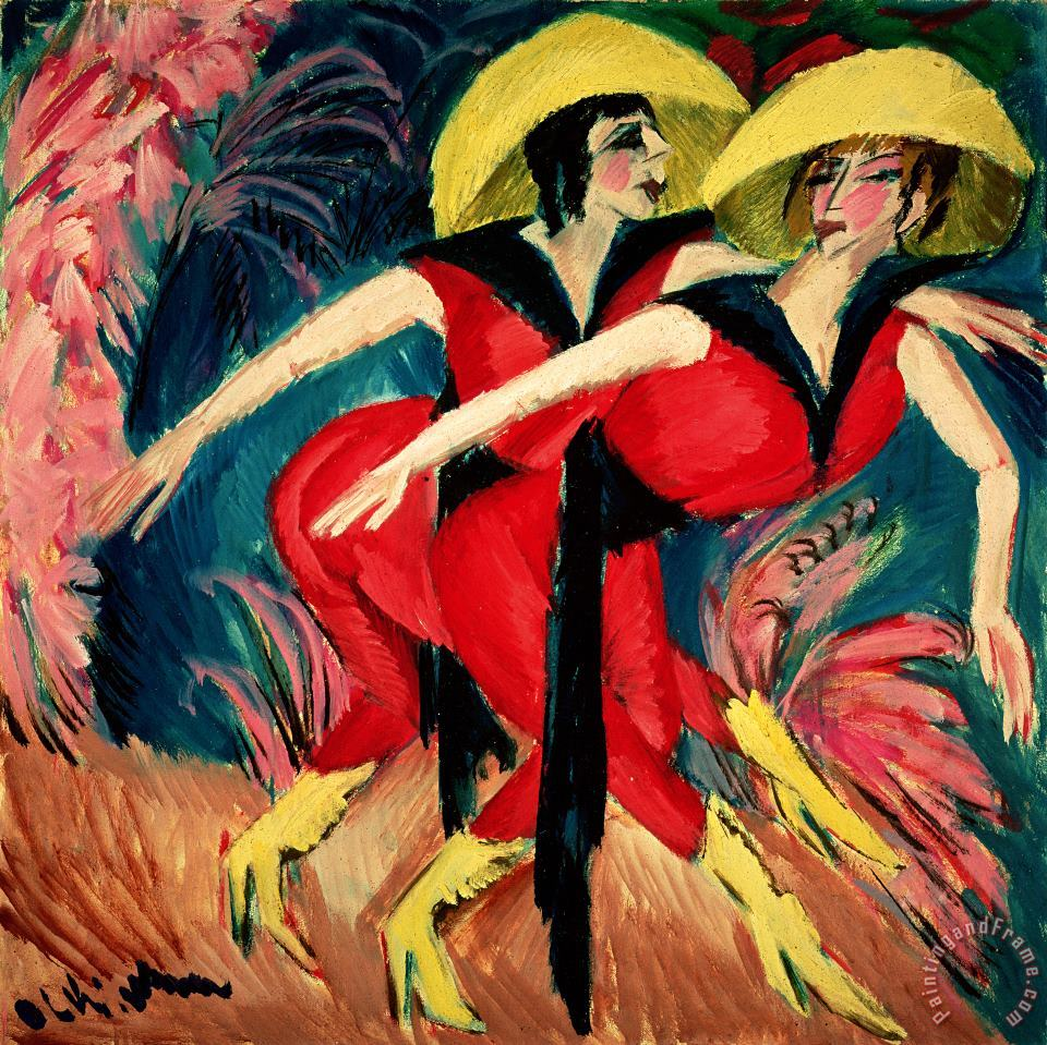 Dancers In Red painting - Ernst Ludwig Kirchner Dancers In Red Art Print