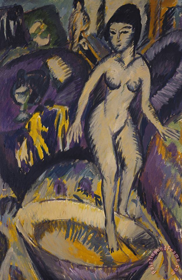 Ernst Ludwig Kirchner Female Nude With Hot Tub Art Painting