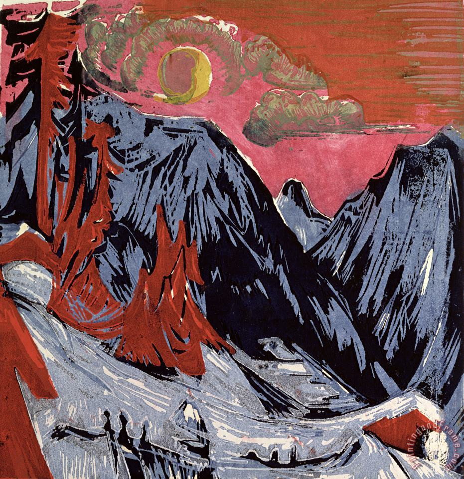Ernst Ludwig Kirchner Mountains in Winter Art Painting