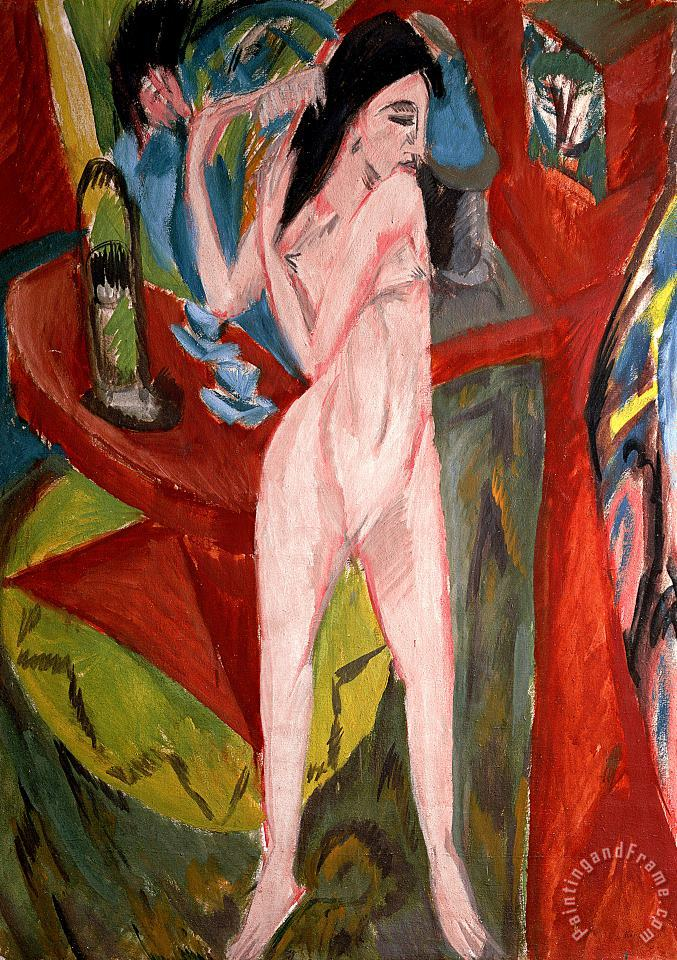 Ernst Ludwig Kirchner Nude Woman Combing Her Hair Art Painting