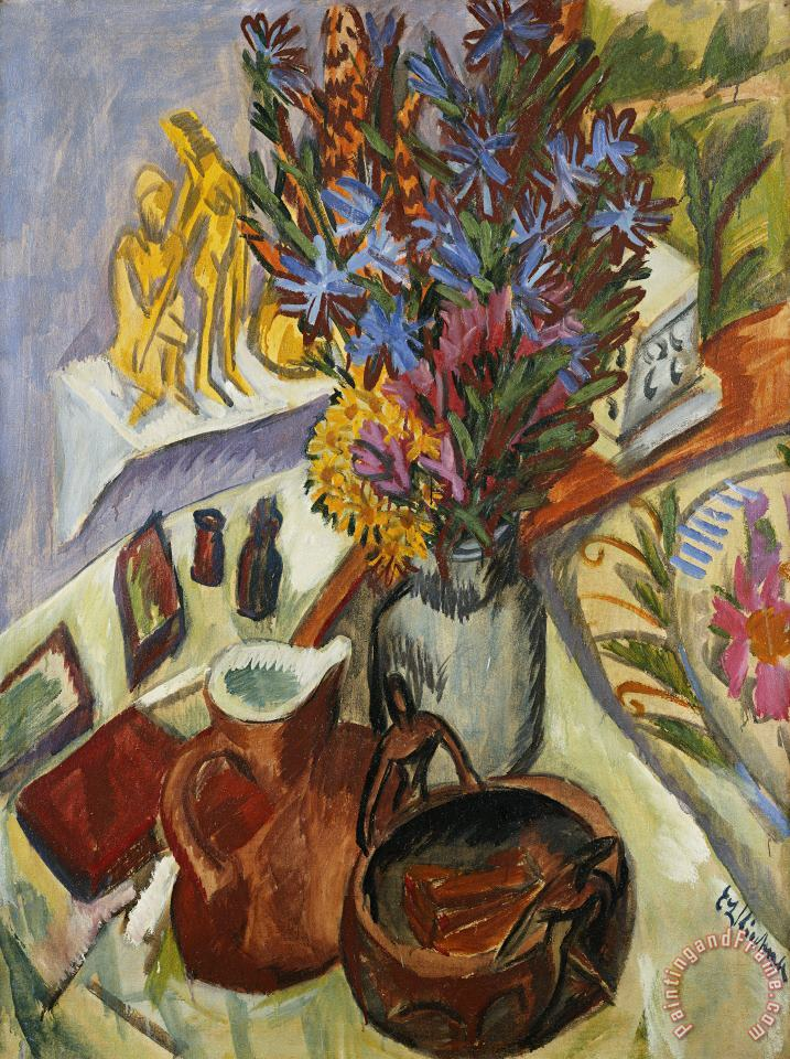 Ernst Ludwig Kirchner Still Life With Jug And African Bowl Art Painting