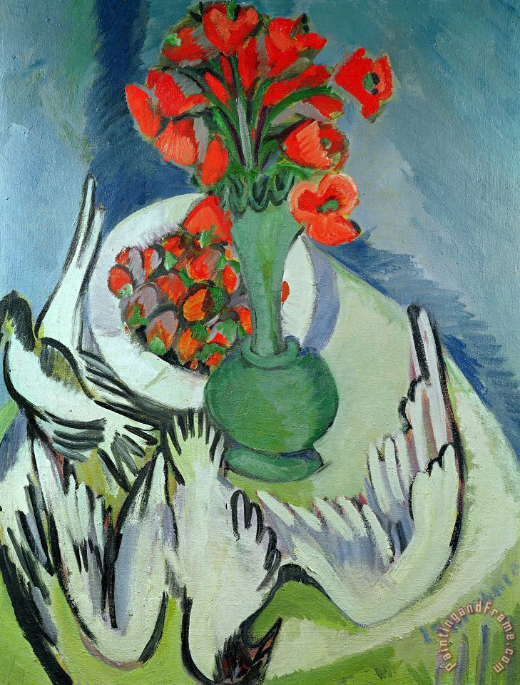 Still Life With Seagulls Poppies And Strawberries painting - Ernst Ludwig Kirchner Still Life With Seagulls Poppies And Strawberries Art Print