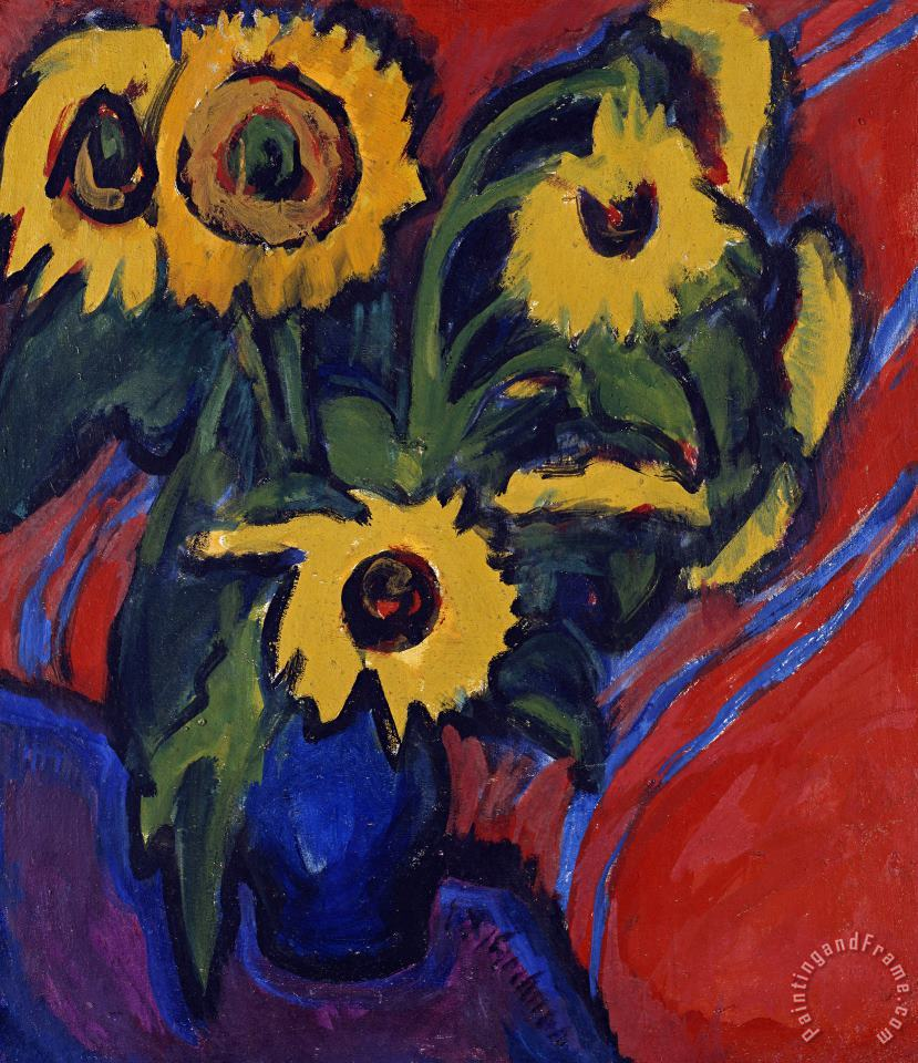 Sunflowers painting - Ernst Ludwig Kirchner Sunflowers Art Print