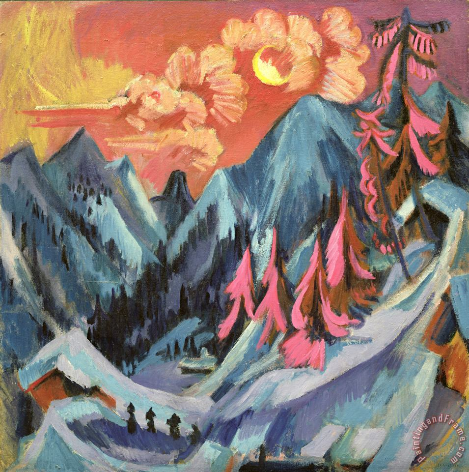 Winter Landscape in Moonlight painting - Ernst Ludwig Kirchner Winter Landscape in Moonlight Art Print
