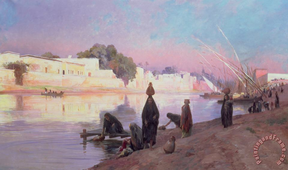 Washerwomen On The Banks Of The Nile painting - Eugene Alexis Girardet Washerwomen On The Banks Of The Nile Art Print