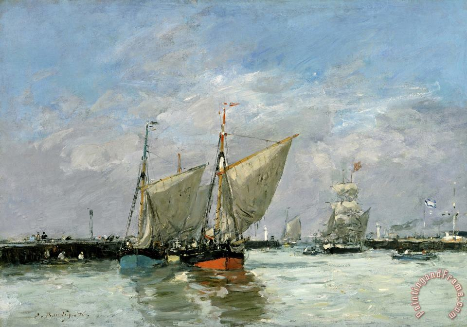 Eugene Boudin Trouville, The Jetties, High Tide Art Print
