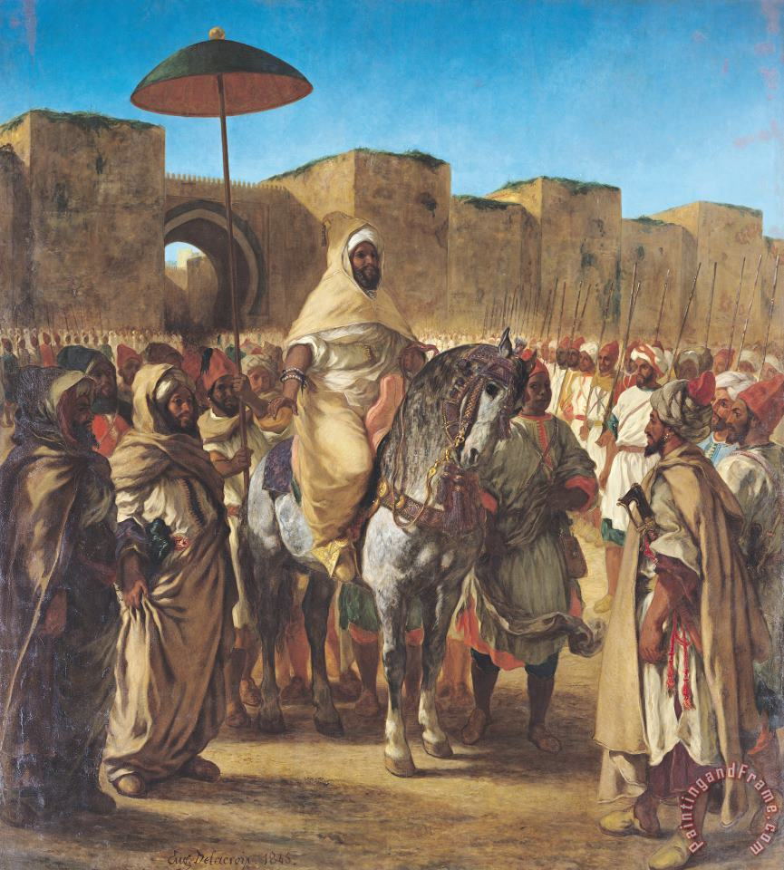 Muley Abd Ar Rhaman (1789 1859), The Sultan of Morocco, Leaving His Palace of Meknes with His Entourage, March 1832 painting - Eugene Delacroix Muley Abd Ar Rhaman (1789 1859), The Sultan of Morocco, Leaving His Palace of Meknes with His Entourage, March 1832 Art Print