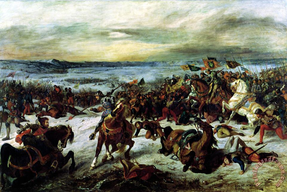 Eugene Delacroix The Death of Charles The Bold (1433 77) at The Battle of Nancy, 5th January 1477 Art Painting