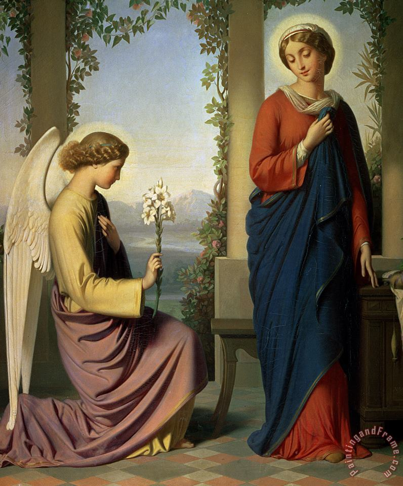 Eugene Emmanuel Amaury-Duval The Angelic Salutation Art Painting