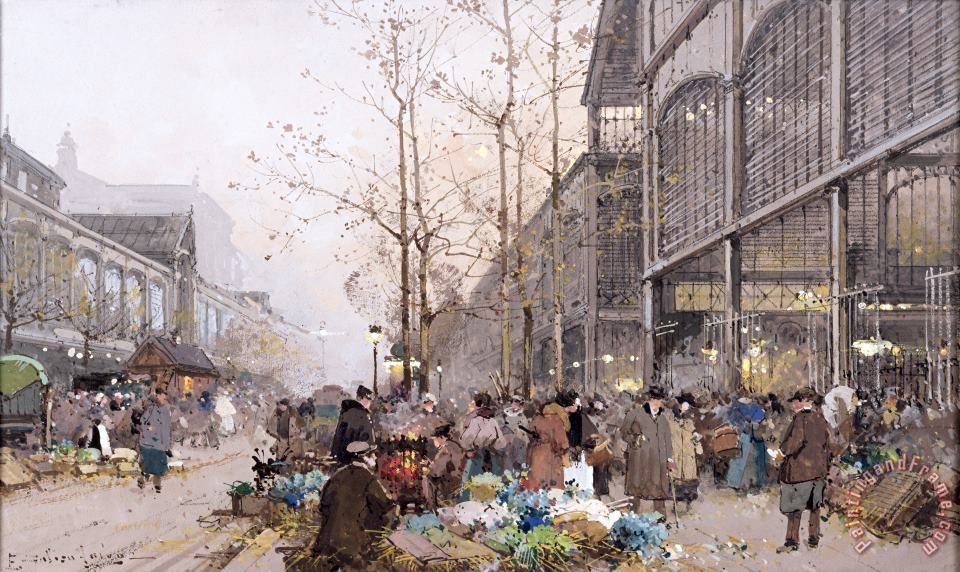 Les Halles and St. Eustache painting - Eugene Galien-Laloue Les Halles and St. Eustache Art Print
