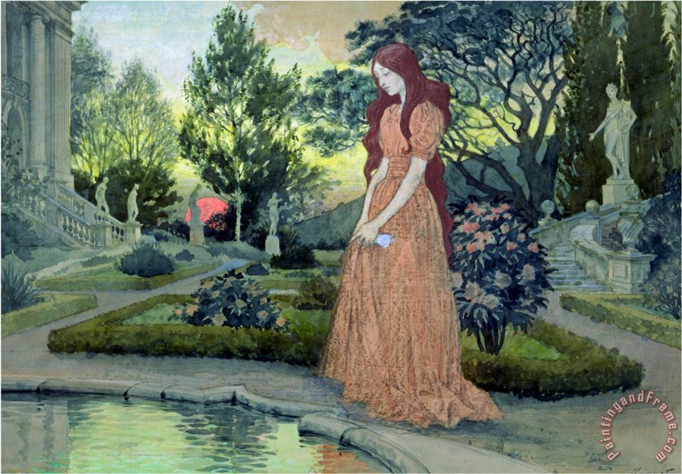 Eugene Grasset Young Girl in a Garden Art Painting